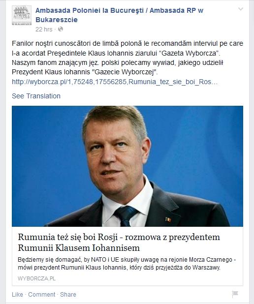 'Iohannis curata mizeria lasata de predecesorul pro-rus Traian Basescu'?